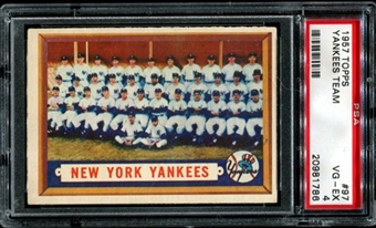 1957 Topps Baseball #97 New York Yankees Team PSA 4 (VG-EX) *1786