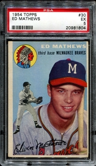 1954 Topps Baseball #30 Eddie Mathews PSA 5 (EX) *1804
