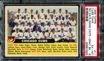 1956 Topps Baseball #11 Chicago Cubs Team (No Date, Centered) PSA 6 (EX-MT) *1826