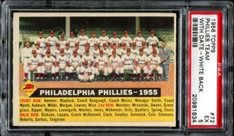 1956 Topps Baseball #72 Philadelphia Phillies Team (With Date) PSA 5 (EX) *1834