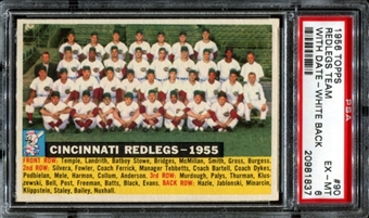 1956 Topps Baseball #90 Cincinnati Redlegs Team (With Date) PSA 6 (EX-MT) *1837