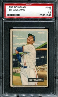 1951 Bowman Baseball #165 Ted Williams PSA 1.5 (FR) *1849