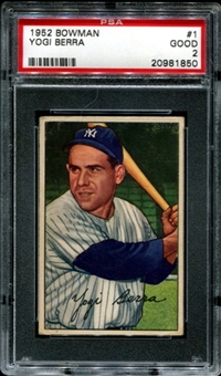 1952 Bowman Baseball #1 Yogi Berra PSA 2 (GOOD) *1850