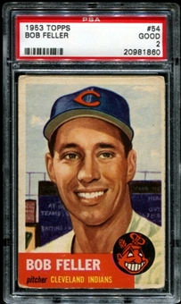 1953 Topps Baseball #54 Bob Feller PSA 2 (GOOD) *1860