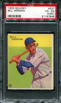 1933 Goudey Baseball #227 Bill Herman PSA 4 (VG-EX) (MC) *7646