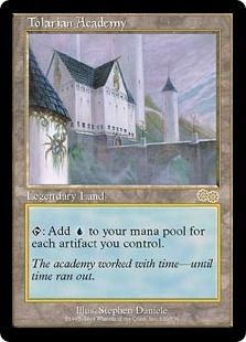 Magic the Gathering Urza's Saga Single Tolarian Academy - SLIGHT PLAY (SP)