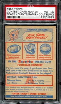 1956 Topps Football Contest Card A (November 25th) PSA 4 (VG-EX) (MC) *1893