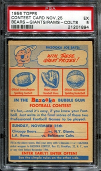 1956 Topps Football Contest Card A (November 25th) PSA 5 (EX) *1894