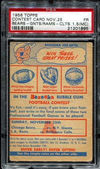 1956 Topps Football Contest Card A (November 25th) PSA 1.5 (FR) (MC) *1895