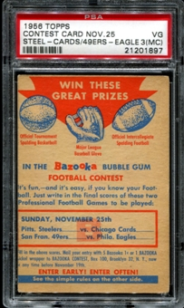 1956 Topps Football Contest Card B (November 25th) PSA 3 (VG) (MC) *1897