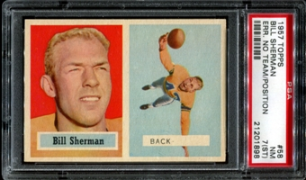 1957 Topps Football #58 Bill Sherman ERROR PSA 7 (NM) (ST) *1898