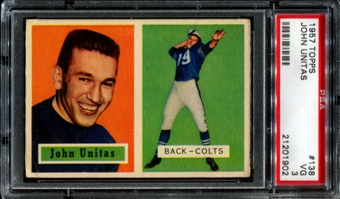 1957 Topps Football #138 Johnny Unitas Rookie PSA 3 (VG) *1902