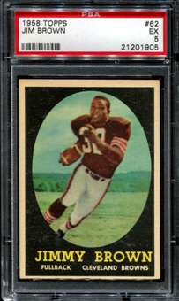 1958 Topps Football #62 Jim Brown Rookie PSA 5 (EX) *1905