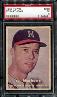 1957 Topps Baseball #250 Ed Mathews PSA 5 (EX) *2021