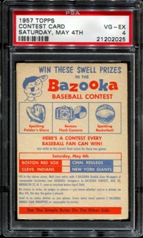 1957 Topps Baseball Contest Card (Saturday, May 4th) PSA 4 (VG-EX) *2025