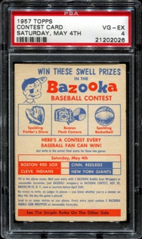 1957 Topps Baseball Contest Card (Saturday, May 4th) PSA 4 (VG-EX) *2026