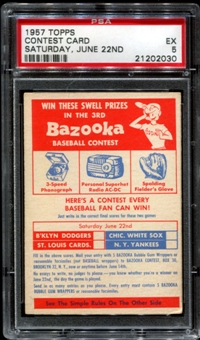 1957 Topps Baseball Contest Card (Saturday, June 22nd) PSA 5 (EX) *2030