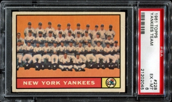 1961 Topps Baseball #228 Yankees Team PSA 6 (EX-MT) *2045
