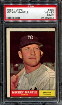 1961 Topps Baseball #300 Mickey Mantle PSA 4 (VG-EX) (MC) *2047