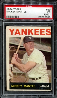 1964 Topps Baseball #50 Mickey Mantle PSA 3 (VG) (MC) *2050