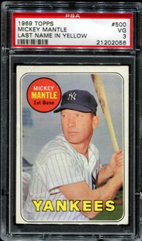 1969 Topps Baseball #500 Mickey Mantle PSA 3 (VG) *2056