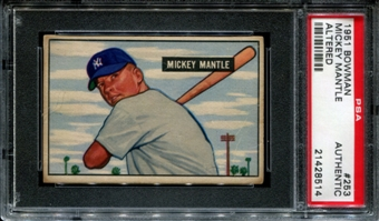 1951 Bowman Baseball #253 Mickey Mantle Rookie PSA Authentic (Altered) *8514