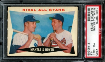 1960 Topps Baseball #160 Mantle & Boyer Rival All Stars PSA 4.5 (VG-EX+) *3606