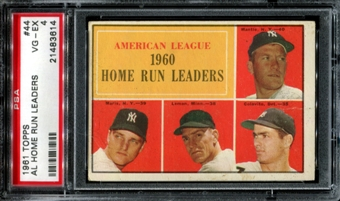 1961 Topps Baseball #44 AL Home Run Leaders PSA 4 (VG-EX) *3614