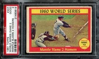 1961 Topps Baseball #307 Mantle Slams 2 Homers PSA 2 (GOOD) *3619