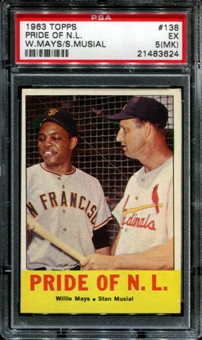 1963 Topps Baseball #138 Pride Of N.L. (Mays/Musial) PSA 5 (EX) (MK) *3624