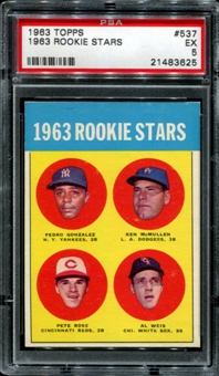 1963 Topps Baseball #537 Pete Rose Rookie PSA 5 (EX) *3625