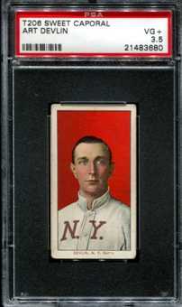 1909-11 T206 Sweet Caporal Art Devlin PSA 3.5 (VG+) *3680