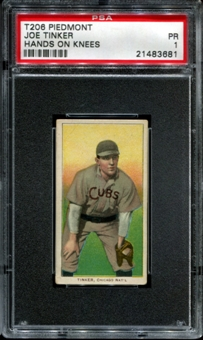 1909-11 T206 Piedmont Joe Tinker (Hands On Knees) PSA 1 (PR) *3681