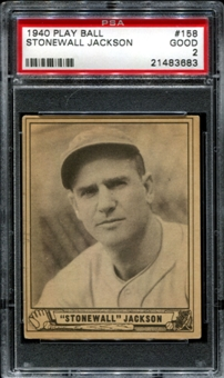 1940 Play Ball Baseball #158 Stonewall Jackson PSA 2 (GOOD) *3683