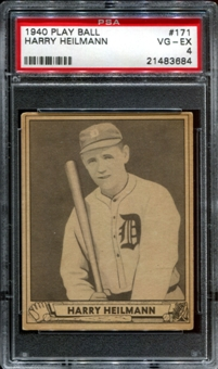 1940 Play Ball Baseball #171 Harry Heilmann PSA 4 (VG-EX) *3684