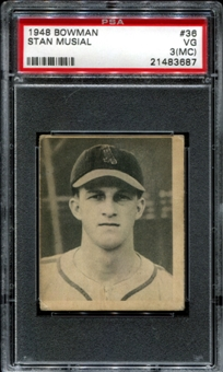 1948 Bowman Baseball #36 Stan Musial Rookie PSA 3 (VG) (MC) *3687