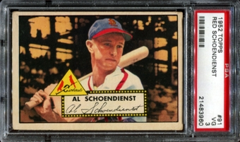1952 Topps Baseball #91 Red Schoendienst PSA 3 (VG) *3960