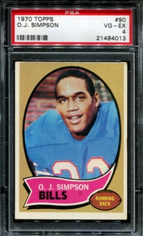 1970 Topps Football #90 O.J. Simpson Rookie PSA 4 (VG-EX) *4013