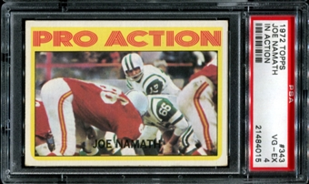 1972 Topps Football #343 Joe Namath In Action PSA 4 (VG-EX) *4015