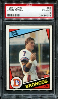 1984 Topps Football #63 John Elway Rookie PSA 6 (EX-MT) *4018
