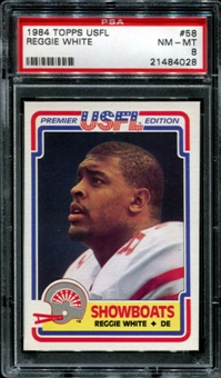1984 Topps USFL Football #58 Reggie White Rookie PSA 8 (NM-MT) *4028