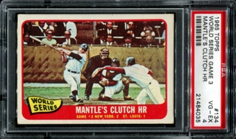 1965 Topps Baseball #134 WS Game 3 Mantle's HR PSA 4 (VG-EX) *4035
