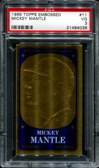 1965 Topps Embossed Baseball #11 Mickey Mantle PSA 3 (VG) *4036