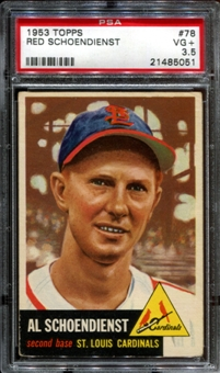 1953 Topps Baseball #78 Red Schoendienst PSA 3.5 (VG+) *5051