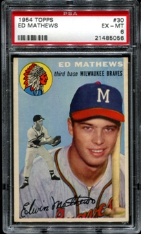 1954 Topps Baseball #30 Eddie Mathews PSA 6 (EX-MT) *5056