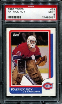 1986/87 Topps Hockey #53 Patrick Roy Rookie PSA 9 (MINT) *5067