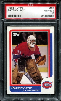 1986/87 Topps Hockey #53 Patrick Roy Rookie PSA 8 (NM-MT) *5068