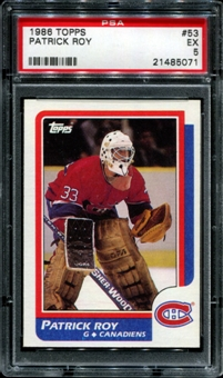 1986/87 Topps Hockey #53 Patrick Roy Rookie PSA 5 (EX) *5071