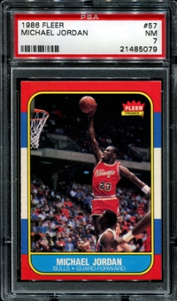 1986/87 Fleer Basketball #57 Michael Jordan Rookie PSA 7 (NM) *5079