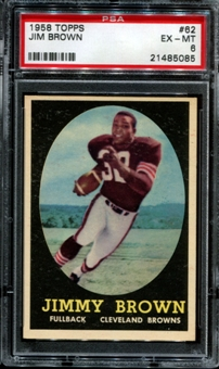 1958 Topps Football #62 Jim Brown Rookie PSA 6 (EX-MT) *5085